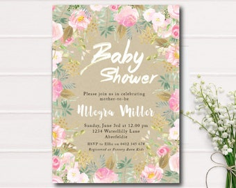Floral Baby Shower Invitation Pink and Gold Foil Baby Shower Printable Invite White and Gold Foil Rustic Floral Baby Shower Printable Invite