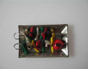 Dolls House Miniature BBQ skewers on the tray