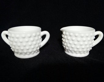 Vintage Fenton Milk Glass Hobnail Creamer and Sugar