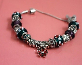 """European Pandora Style Bracelet, """"Love Green, Flowers"""" theme with Flower Murano Glass, Crystal, Metal Beads, size 7.45"""" - see details."""
