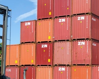 Shipping Containers : archival quality fine art photography, horizontal format, railroad related