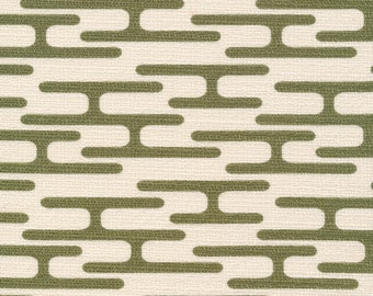 Barkcloth - Holding Pattern, Get Lost Olive by Jessica Jones for Cloud 9 Organic - Mid Century pattern