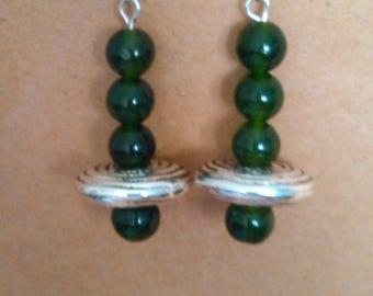 Unique Jade and Silver dangles