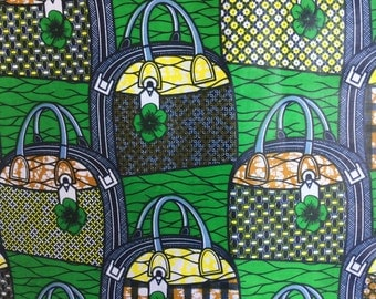 Handbags - African cotton fabric - green and blue