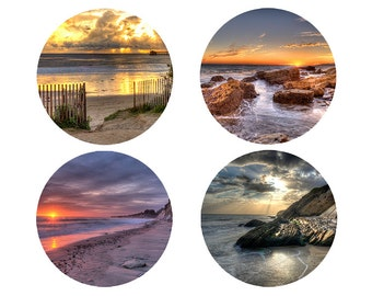 Photos of Sunsets on Ceramic Coasters.