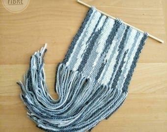 Grey Waterfall weaving / Wall Weaving / woven wall hanging / weaving wool / folk weaving / grey weaving / white weaving / wall decor