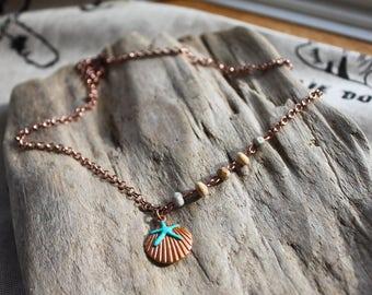 Dendritic Opal Seashell Necklace