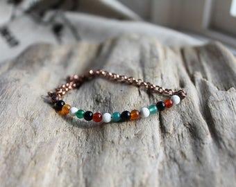 Assorted Agate Adjustable Bracelet