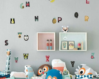 Alphabet wall decal, fruit pattern wall sticker, child room wall decor, tiny colorful wall decal, playroom wall stickers set, kids room #1S