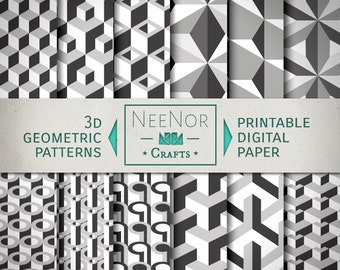3D Black and White Geometric Digital Wrapping Paper