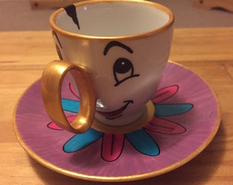 Beauty & The Beast Chip Cup And Saucer-Personalised Gift