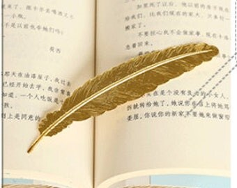 bookmark feather bookmark Brass Large Feather Bookmark, Brass Bookmark, 115x23mm