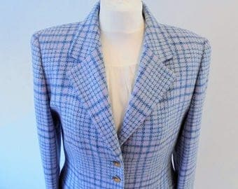 Escada Size 10 UK  2 Pieces Tweed Suit Cashmere jacket /Wool skirt/Pink and blue/Vintage Escada/High Couture suit