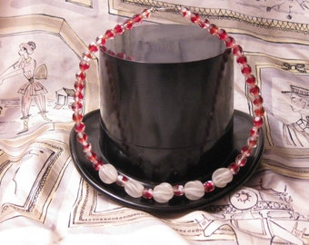 Vintage Cranberry Glass Choker