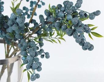 "Luxury Artificial Multi Berry Stem in Blue 35"" Tall"