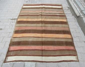 5.1x7.6 Ft Striped handwoven Turkish kilim rug