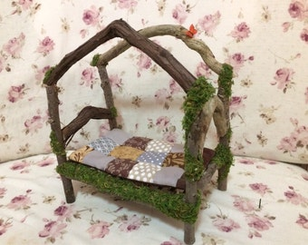 Fairy and Wee Folk Miniature Wooden Bed. Fairy Bed. Wood. Vines. Collectible. OOAK. Handmade. Whimsical. 7 inches tall. Fantasy.