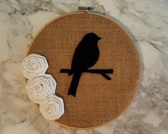 Burlap Art, Rustic Hoop Art, Bird Silhouette, Bird Hoop Art, Rustic Wedding Decor, Woodland Nursery Decor, Woodland Theme, Nursery Hoop Art