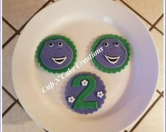 Barney Cupcake Toppers Handmade by CupNCakeCreations
