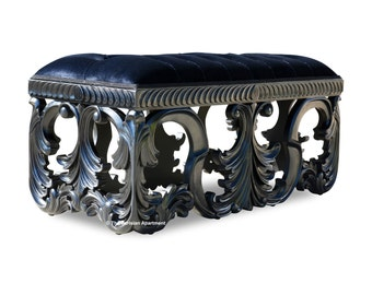 French Black Baroque Rococo Hand Carved Upholstered Tufted Bench