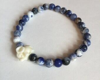 Sodalite Stones with Elephant Bracelet - Logic and Rationality