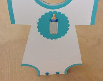 Baby Shower Centerpiece, Boy Baby Shower Decorations, Blue Onesie Centerpiece, Blue/Aqua Baby Shower, Baby Shower Table Decor, Set of 10