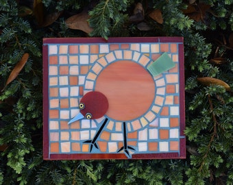 This is a delightful small geometric bird mosaic that will put a smile on your face or anyone that you gift it to.