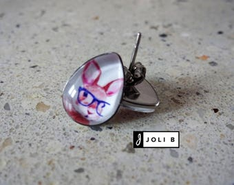 Rabbit with glasses - Earrings - Studs - glass cabochon earrings