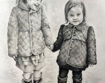 Portrait in Pencil of two Children