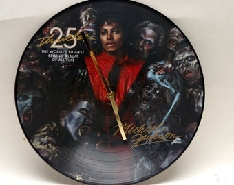 Michael Jackson Thriller Picture Disc Album Clock