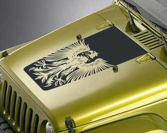 Jeep Wrangler Blackout Hood Decal Sticker - Tribal Eagle Design