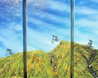 MTB Triptych. Original oil painting on 3 deep-edged canvases each one measures 30x15cm. Varnished & signed by the artist.