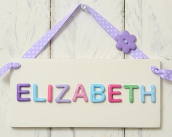 Girl's bedroom door plaque/door sign - Pinks and purples