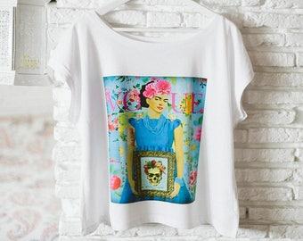 Top VOGUE LIFE - Frida Kahlo top, Scoop neck top, Organic cotton top, Boho-Hippie top, Trendy top for summertime