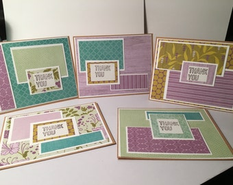 Set of 5 Thank You Notes Cards blank inside w/ envelopes