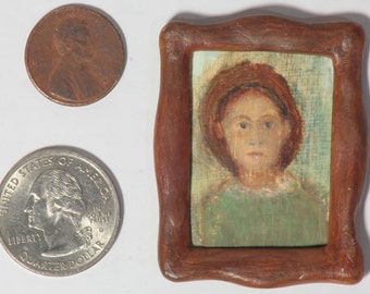 "Tiny handmade original dollhouse acrylic painting - ""Serious Green Woman"""