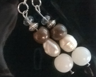 Earrings with freshwater pearls,czech crystals