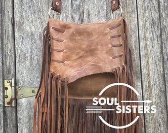 Distressed leather crossbody bag with soft fringe! Western, gypsy, boho, style, made in the USA!  Free shipping!