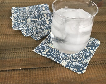 Large Blue Linen Fabric Coasters.  Set of 4.  Ready to ship.