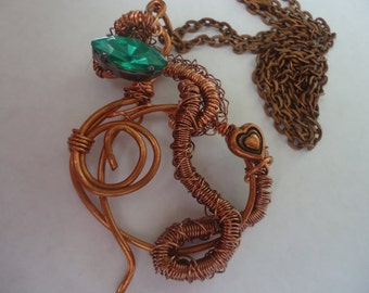 Irish green crystal copper wire wound pendant necklace