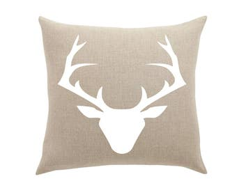 Rustic throw pillow - Deer Silhouette canvas cotton cushion cover accent pillow case decorative pillow cottage decor 16x16 or 18x18