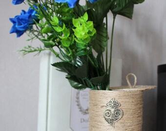 Twine Planter, Storage basket, Gift, Natural Centerpiece, Wedding decor, Christmas gift, twine Centerpiece, Stylized Heart