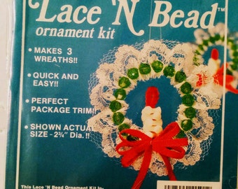 Lace and Bead Christmas Wreath Ornament Kit - Makes 3
