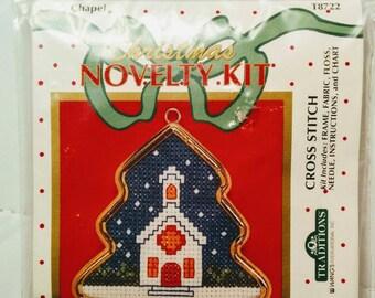 Cross Stitch Christmas Ornament Kit of Chapel with ornamental tree shaped frame