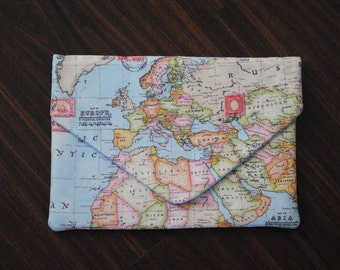 Map of the World - Handmade Laptop Case - All Sizes, Padded