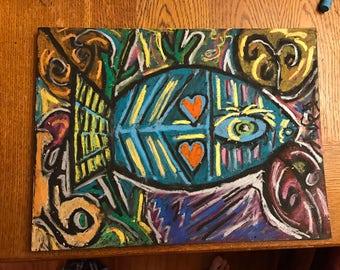 Metallic Fish Drawing- oil pastel drawing