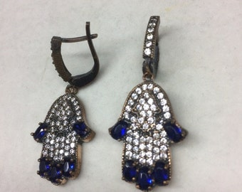 Sterling Silver 925 with Brass and CZ Stones & Blue Crystals