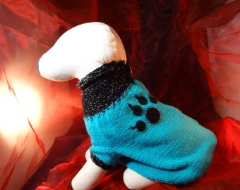 """Sweater""""Jerry"""", size arbitrary, wool, crocheted paw application"""