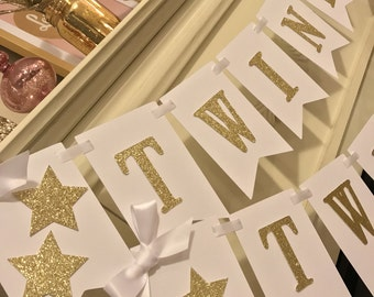 Twinkle Twinkle Little Star Baby Shower, Gold and White, Birthday, Glitter Banner,  Baby Shower Banner,Decorations, backdrop