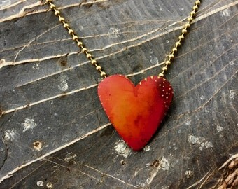 Flame red Valentine copper heart pendant